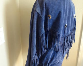 Vintage Blue Suede Fringed Womens Jacket MADE In USA By 'Pioneer Wear' - Lovely & Unique!!