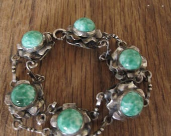 "Sterling Silver Amazonite Flower Link Bracelet 7.5"" (1338)"