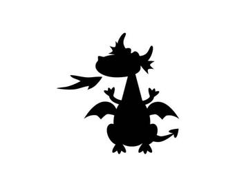 "Small Dragon Stamp, dragon silhouette, cute dragon, fantasy stamp, party stamp, cute stamp, fairytale stamp, 1"" x 1"" (minis110)"