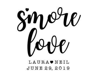S'more Love Stamp, S'more Wedding Favours. S'more Labels, S'more Gift Tags, Custom Wedding Stamp, Wedding Favours, personalsied, (cts224)