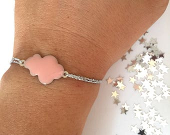 Enameled cloud bracelet and nylon cord