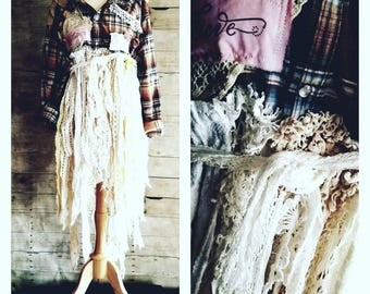 Pink Sunshine Shabby Funky Plaid upcycled patchwork tattered lace crochet rustic Boho altered artsy dress top tunic lagenlook Med to 2X