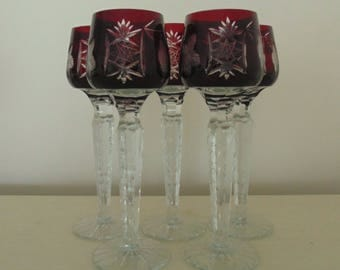 5 Ruby Bohemian Crystal Glass Cordials Stemware Cut to Clear Liquor Liqueur Stems