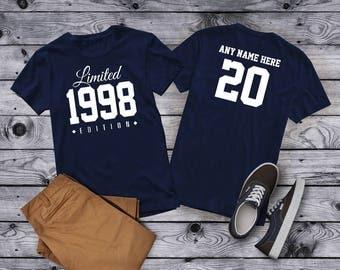 1998 Limited Edition 20th Birthday Party Shirt, 20 years old shirt, limited edition 20 year old, 20th birthday party tee shirt Custom