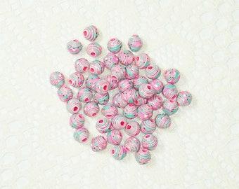 Paper Beads, Loose Handmade Jewelry Supplies Itty Bitty Pink Ladybugs on Aqua