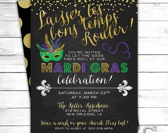 Let the Good Times Roll Mardi Gras Invitation