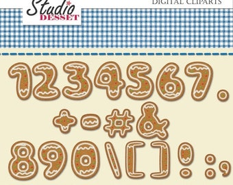 SUMMER SALE - 55% OFF Gingerbread Numbers Cliparts, Christmas Cookie Symbols, Digital Clip Art Pack, Holiday Delights, Graphics for Personal