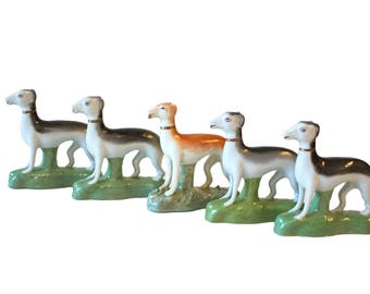 Vintage Ceramic Greyhound Figurines, 5