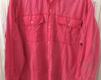 PACO faded red men's long sleeve button up shirt L/XL