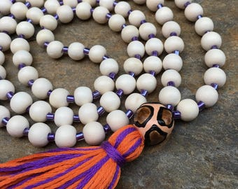 Long Beaded tassel necklace purple orange tassel white wood beaded necklace Bohemian necklace boho necklace jewelry leopard print clay bead