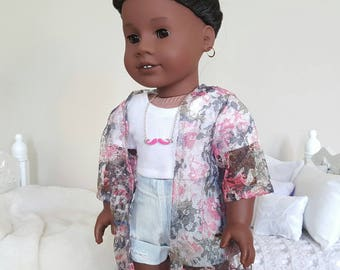 18 inch doll pink and grey kimono | lace kimono
