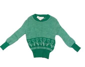Vintage deadstock green spring flower pattern jumper 12-18 months 1970s