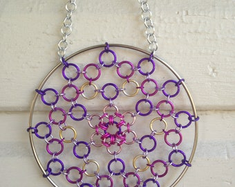Chainmail Dreamcatcher, Shades of Purples and Pinks Chainmail Art / Sculpture, Home Decor Wall Hangings, Chainmail Suncatcher, Ornament