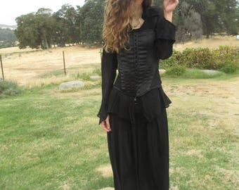 Pirate Costume - Elegant Witch Costume - Steampunk - Cosplay - Halloween - Reinactments - Black - #3 - Corset - SIze 8 - Satin Corset