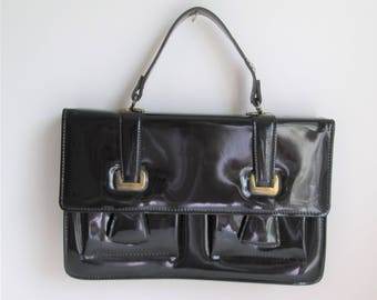 50's-60's mod black patent leather suitcase style handbag / Celestial by Markay
