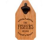Wedding Gift - Personalized Beer Bottle Opener Wood Sign - Rustic Wedding Gift