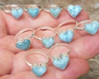 Larimar Heart Ring Etsy