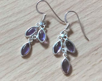 Purple Amethyst Drop Earrings, Sterling Silver Amethyst Earrings, February Birthstone, Silver Jewelry, Amethyst Silver Earrings, UK Seller