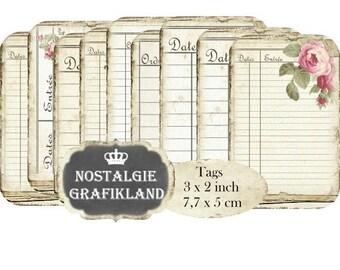 French Ledger Tags printable Ephemera Journal Vintage Dates Daybook Register Instant Download digital collage sheet T168