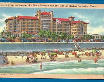 Vintage Linen Postcard - Hotel Galvez Overlooking the Great Seawall and Gulf of Mexico in Galveston, Texas  (2580)