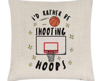 I'd Rather Be Shooting Hoops Basketball Linen Cushion Cover