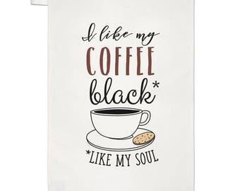 I Like My Coffee Black Like My Soul Tea Towel Dish Cloth