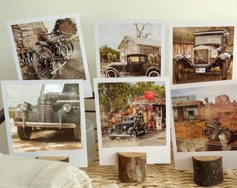 Polaroid travel set, vintage car and motorcycle polaroid prints, Route 66 art prints, vintage travel postcards, travel photography,road trip