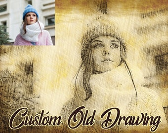 Custom old drawing from photo, printable jpeg photo, high resolution, hand drawing effect, from photo to drawing, original gift