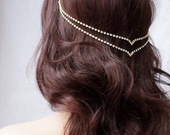 Head chain - Crystal Hair Jewellery - Wedding accessory - Gold Hair Chain - modern Bridal Hair Accessory