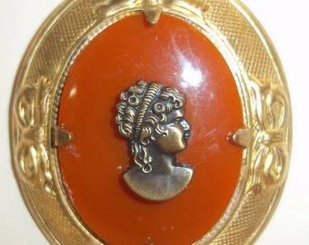Dark Carnelian Color and Goldtone Cameo Pendant Necklace