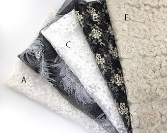 130 cm / 51 inch Width, Elegant  Flower Floral Lace Cotton Fabric, Half Yard