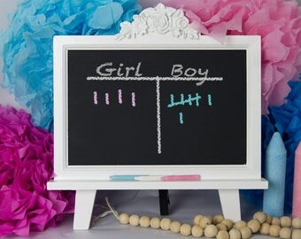 Gender Reveal Party Decoration Framed Chalkboard with Easel -  Tabletop Magnetic Chalkboards - Nursery Decor - Baby Shower - Boy or Girl