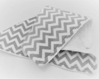 Soft, Cuddly Lovey Blanket - Double Minky - Gray & White Chevron Minky - White Dimple Dot Minky - Baby Blanket -Gender Neutral-Ready to Ship