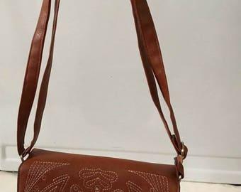 SUMMER  CLEARANCE SALE Vintage Vegan Cognac Colored Leather Saddle Bag