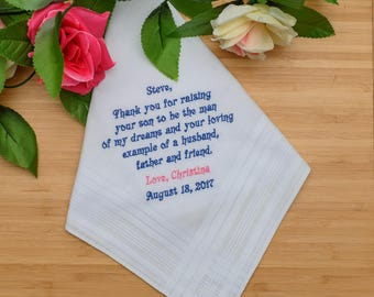 Father of the Groom Handkerchief. Wedding Handkerchief. Personalized Handkerchief. Thank you for raising your son to be the man of my dreams