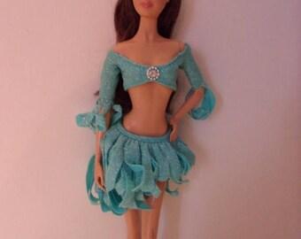 Barbie Doll Rio Carnival Mardi Gras Costume  Blue Skirt & Top for Model Muse Slim Body Dolls