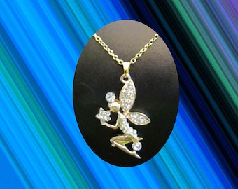 Fairy Princess Pixie Gemstone Pendant and Chain Necklace Jewelry