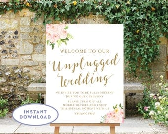 Printable Unplugged Wedding Sign 18x24 Floral Welcome to our Unplugged Wedding INSTANT DOWNLOAD Blush Pink Flowers The Bella