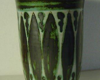 large midcentury German luster glaze pottery vase signed Hohenheim