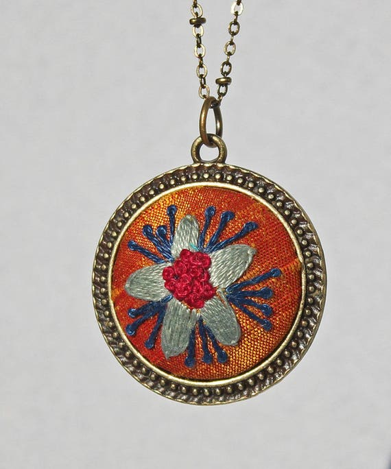 Silk Embroidered Flower Pendant / Floral Stitched Necklace / Mandarin Orange Silk / Gift For Her