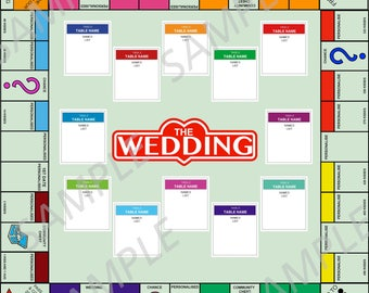 Monopoly Styled Wedding Table Plan - Completely personalizable - instant download Game Themed Wedding Party Reception - Dance Floor
