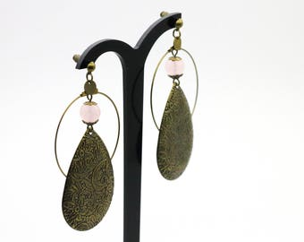 Dangling earrings drops brass and quartz