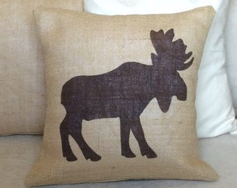 SALE Moose Burlap Pillow  - Rustic,Gifts For Him,Man Cave,Fathers Day,Antler Pillow - Cabin decor Cover