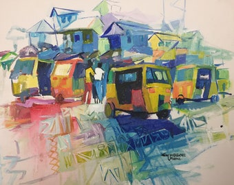 African Painting. Urban Life 3. Acrylic Painting On Canvas Board.