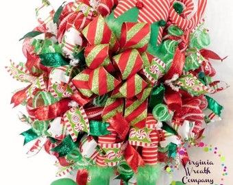 ON SALE CIJ Elf Wreath, Christmas Deco Mesh Elf Wreath, Christmas Elf, Christmas Elf Wreath, Deco Mesh Wreath, Christmas Decor, Door Hanger,