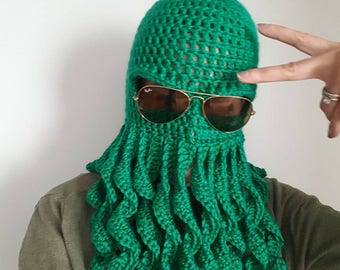 Octopus Costume Hat, Mens Halloween Costume, Cthulhu Mask, Knit Balaclava Hood, Valentine's Gift for Men, Ready to Ship Gift, Best Selling