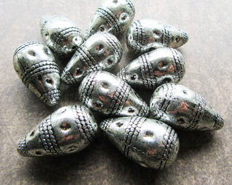 10 Antique Silver Metalized Acrylic CCB Large Focal Tear Drop 3D Beads 26mm