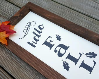 Hello Fall Farmhouse Style Sign, Farmhouse Decor, Rustic Fall Decor, Fall Sign, Autumn Sign, Thanksgiving sign, Rustic Wooden Sign,