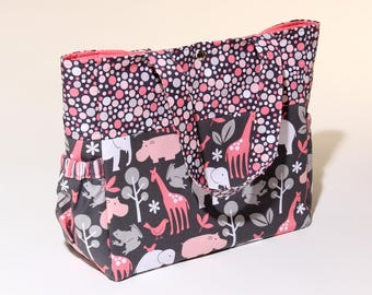 Handmade Diaper Bag / Baby Changing Bag with pockets Pink & Charcoal Animals