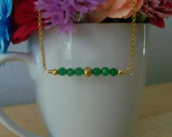 Handmade Natural Emerald Beaded Bar Necklace